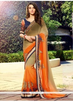 Invaluable Georgette Orange And Brown Designer Saree