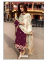 Deep Wine Designer Party Wear Faux Georgette Pakistani Suit