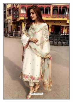 White Designer Party Wear Faux Georgette Pakistani Suit
