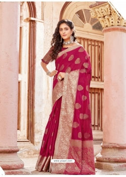 Rose Red Designer Party Wear Silk Sari