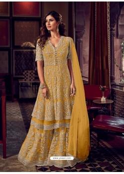 Yellow Heavy Embroidered Designer Wedding Wear Sharara Suit