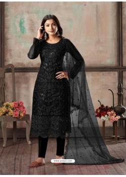 Black Designer Net Straight Salwar Suit