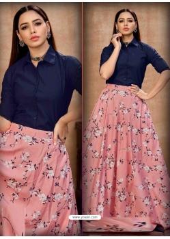 Pink Stylish Designer Crop-Top With Lehenga