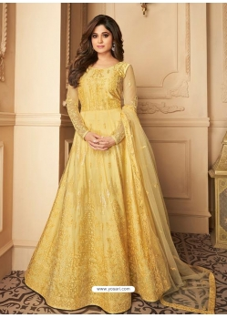 Yellow Latest Designer Party Wear Butterfly Net Gown Suit