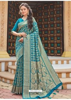 Blue Designer Party Wear Silk Sari