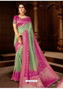 Sea Green Designer Party Wear Silk Sari