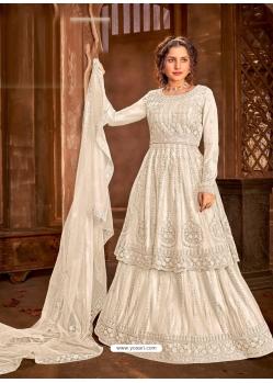 Off White Latest Designer Heavy Embroidered Net Lehenga Suit