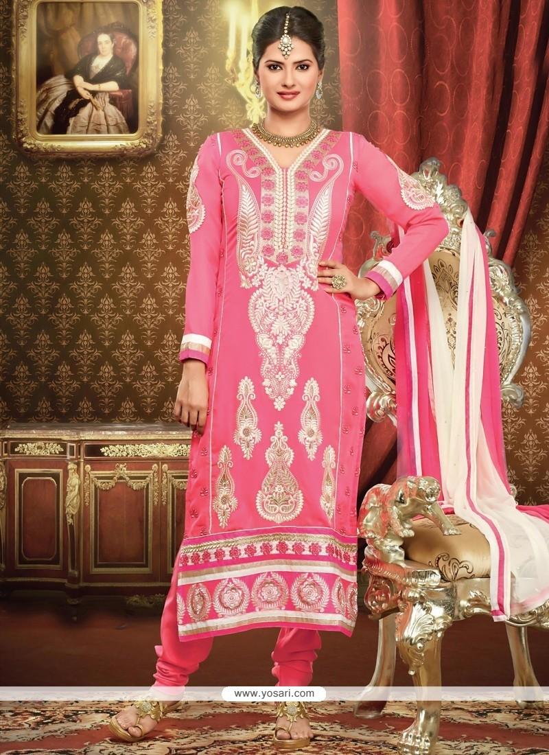 Epitome Pink Georgette Churidar Salwar Kameez