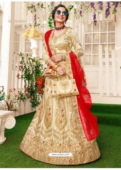 Light Beige Stylish Designer Wedding Wear Lehenga Choli