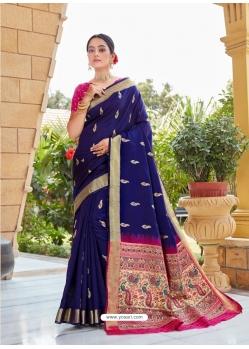 Royal Blue Designer Party Wear Fancy Silk Sari