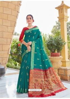 Teal Designer Party Wear Fancy Silk Sari