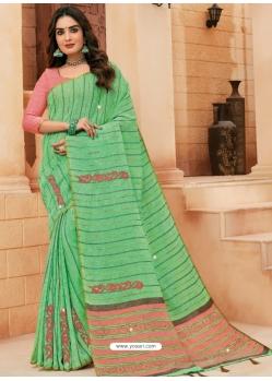 Green Designer Party Wear Cotton Sari