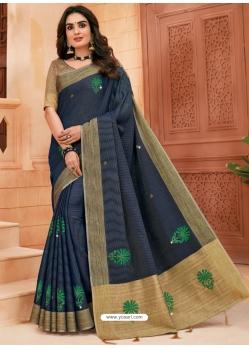 Navy Blue Designer Party Wear Cotton Sari