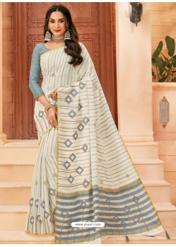 Off White Designer Party Wear Cotton Sari