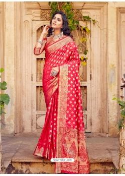 Dark Peach Designer Party Wear Banarasi Silk Sari