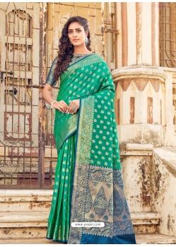 Jade Green Designer Party Wear Banarasi Silk Sari
