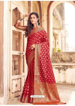 Tomato Red Designer Party Wear Banarasi Silk Sari