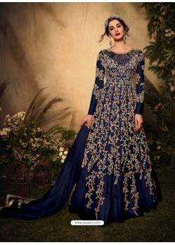 Navy Blue Latest Designer Party Wear Soft Net Gown Suit