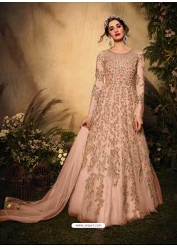 Peach Latest Designer Party Wear Soft Net Gown Suit