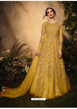 Yellow Latest Designer Party Wear Soft Net Gown Suit