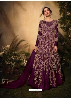 Purple Latest Designer Party Wear Soft Net Gown Suit