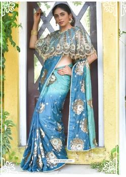 Blue Latest Designer Party Wear Sari