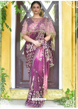 Purple Latest Designer Party Wear Sari