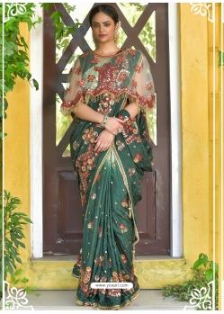 Dark Green Latest Designer Party Wear Sari