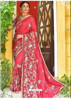 Dark Peach Latest Designer Party Wear Sari