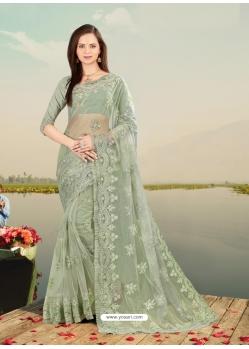 Olive Green Designer Party Wear Net Sari