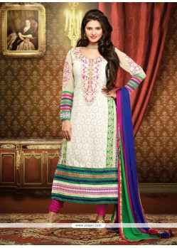 Off White Georgette Churidar Salwar Kameez