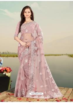 Dusty Pink Designer Party Wear Net Sari