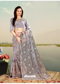 Grey Designer Party Wear Net Sari