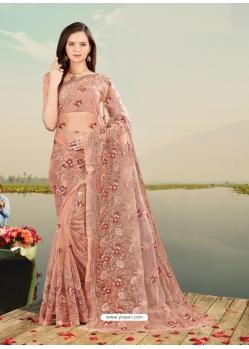 Rust Designer Party Wear Net Sari