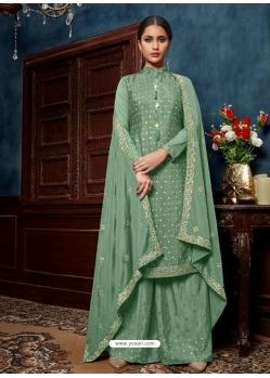 Sea Green Chinnon Designer Party Wear Palazzo Suit