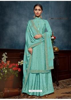 Sky Blue Chinnon Designer Party Wear Palazzo Suit