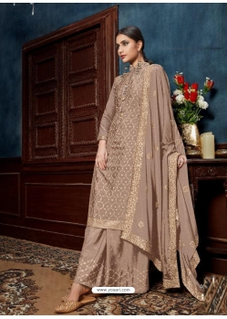Light Brown Chinnon Designer Party Wear Palazzo Suit