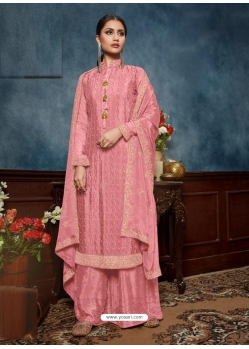 Pink Chinnon Designer Party Wear Palazzo Suit
