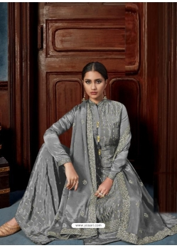 Grey Chinnon Designer Party Wear Palazzo Suit
