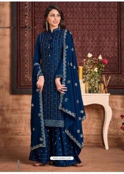 Dark Blue Tone Silk Georgette Designer Party Wear Palazzo Suit