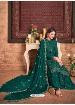 Teal Tone Silk Georgette Designer Party Wear Palazzo Suit