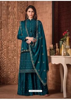 Teal Blue Tone Silk Georgette Designer Party Wear Palazzo Suit
