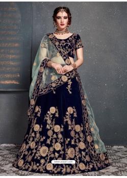 Navy Blue Stylish Designer Bridal Wear Lehenga Choli