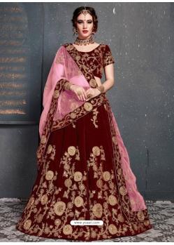 Maroon Stylish Designer Bridal Wear Lehenga Choli
