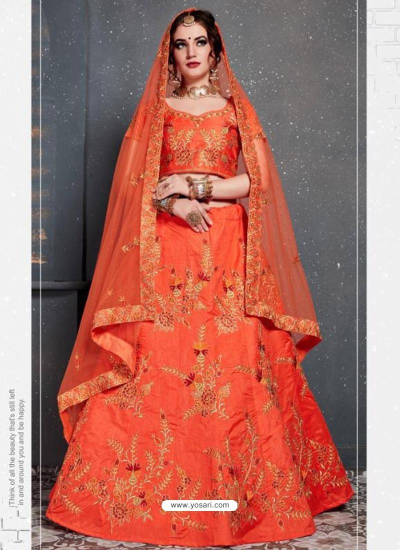 Orange Stylish Designer Bridal Wear Lehenga Choli