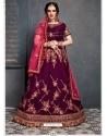 Deep Wine Stylish Designer Bridal Wear Lehenga Choli