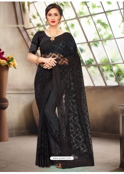 Black Latest Designer Party Wear Net Sari