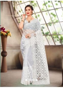 White Latest Designer Party Wear Net Sari
