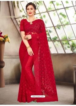 Tomato Red Latest Designer Party Wear Net Sari