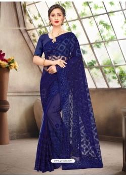 Dark Blue Latest Designer Party Wear Net Sari